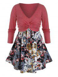 Plus Size Twist Ruched Flower Curved Hem Tunic Tee -