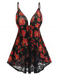 Plus Size Sheer Lace Floral Print Babydoll Set -