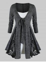 Plus Size Lace Insert Heathered Tie Cardigan With Cami Top Set -