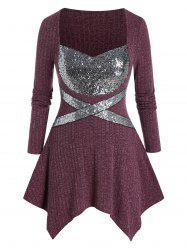 Plus Size Shiny Sequins Insert Asymmetrical Pullover Sweater -