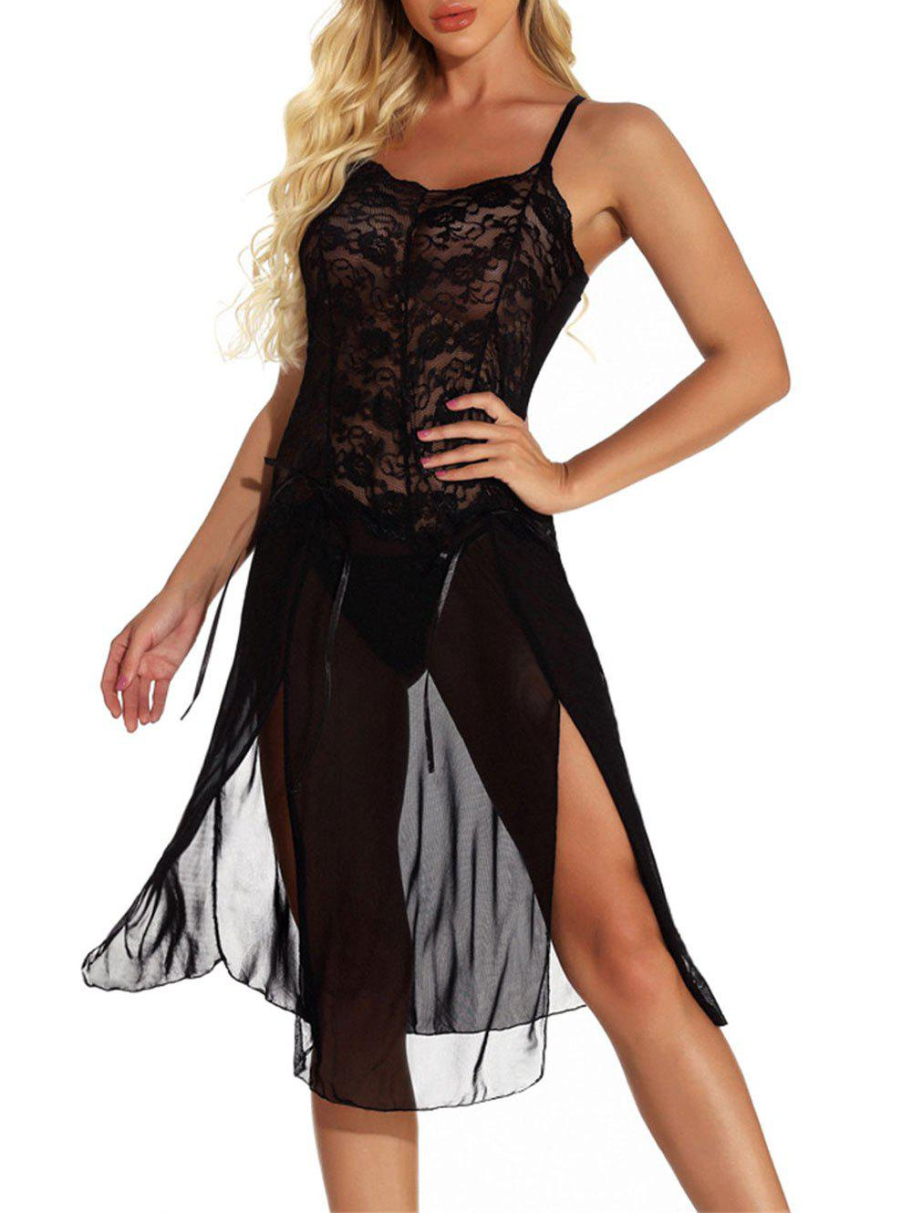 Discount Lace Panel Bowknot See Thru Slit Lingerie Dress