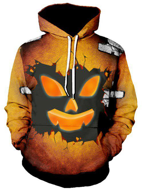 Sweat à Capuche d'Halloween Graphique Visage de Fantôme à Cordon Chocolat 2XL