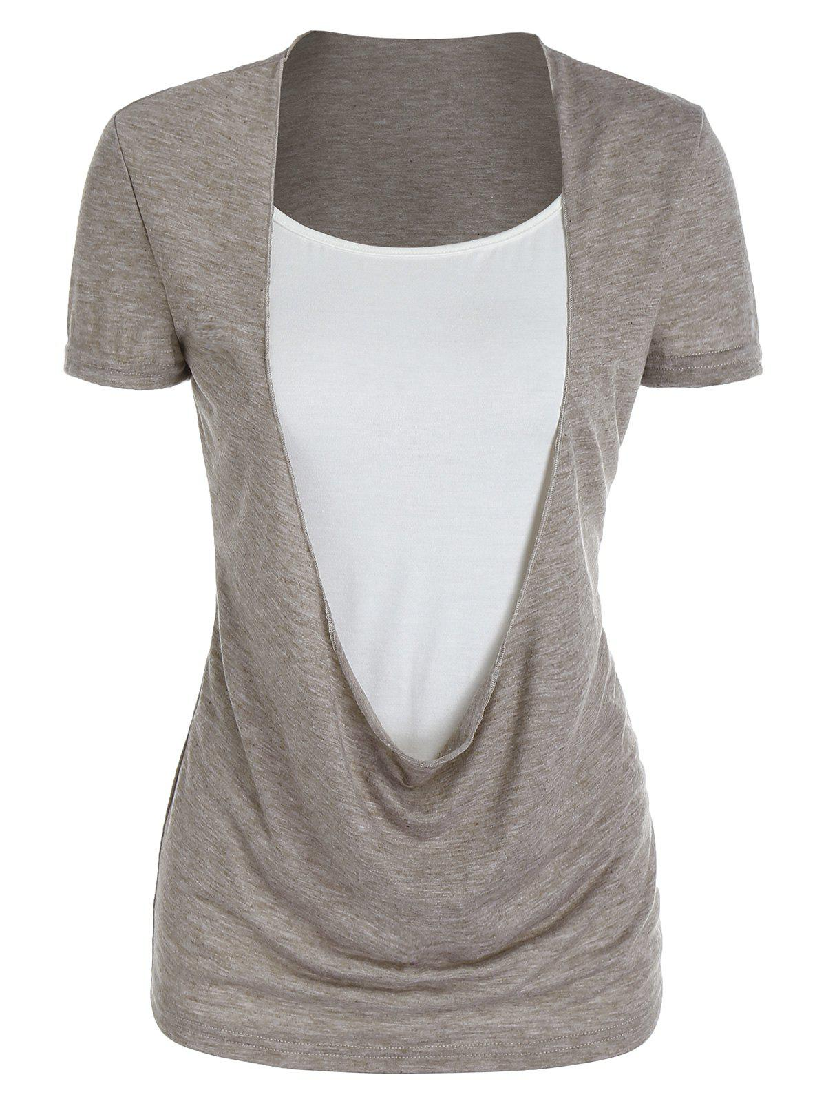 Best Draped Heathered Faux Twinset T-shirt