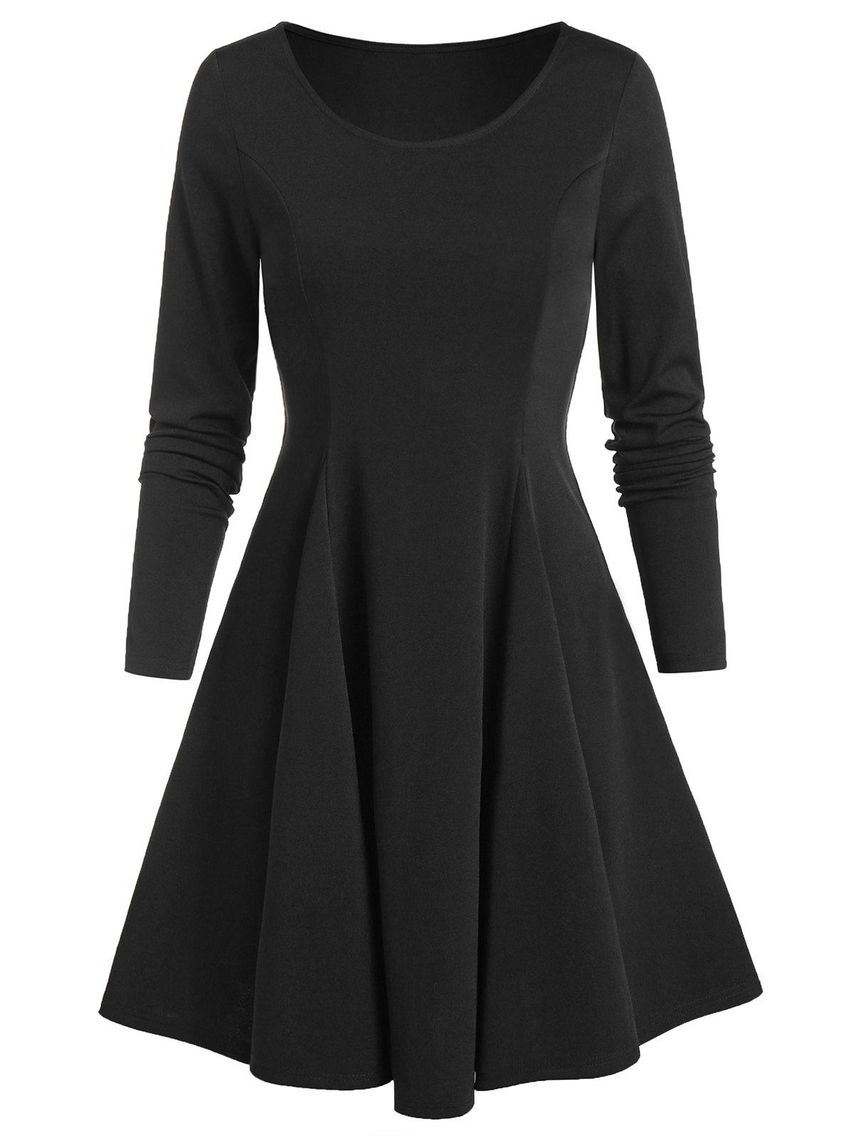 Fancy Long Sleeve Fit and Flare Plain Dress