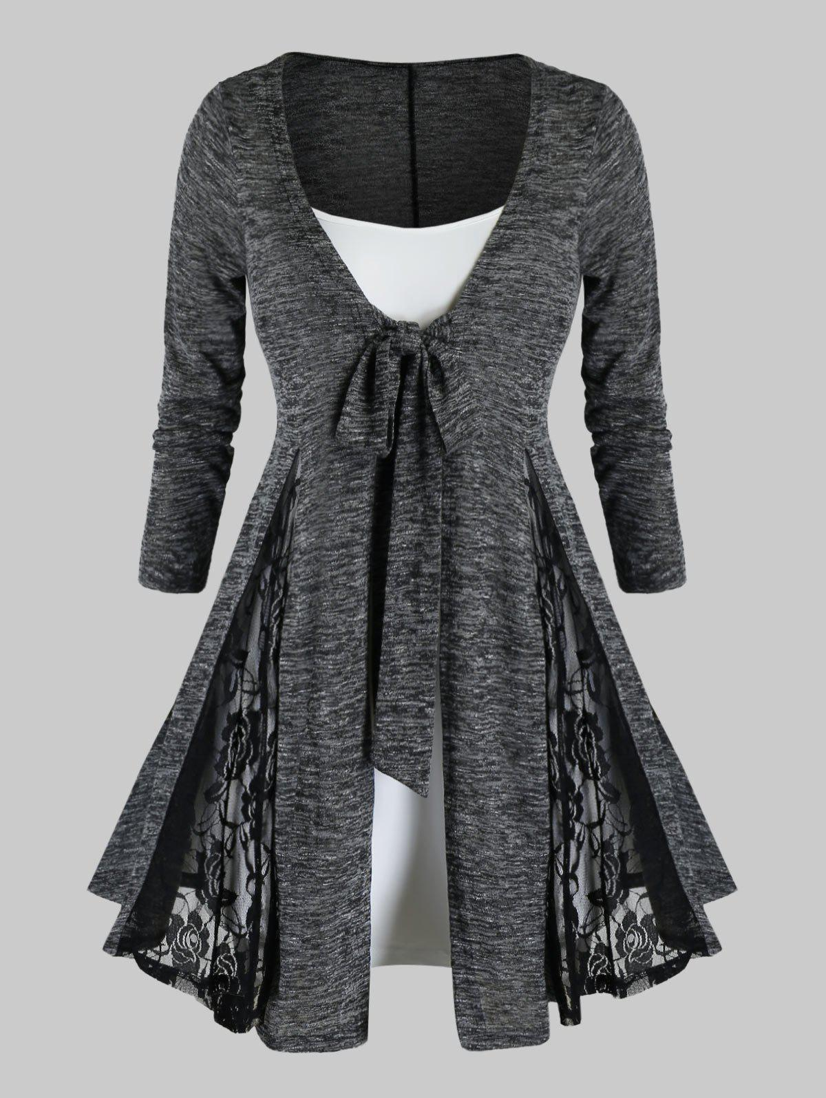 Unique Plus Size Lace Insert Heathered Tie Cardigan With Cami Top Set