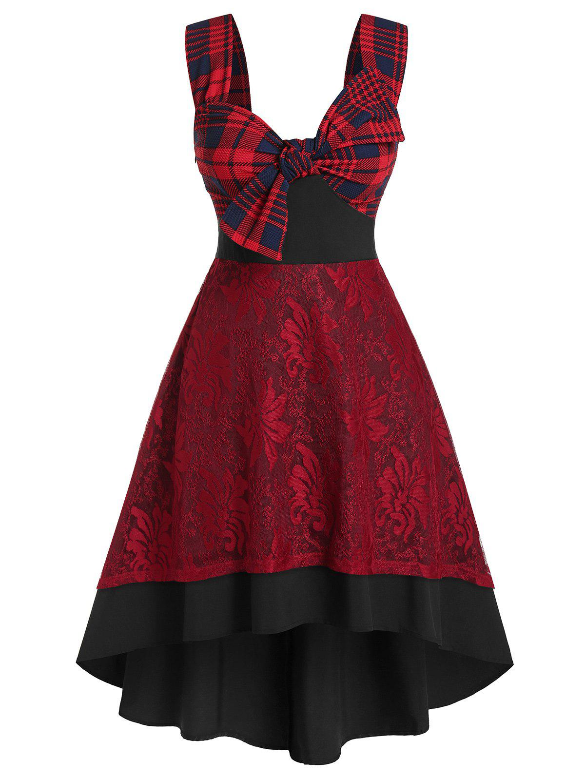 Plus Size Plaid Bowknot Lace Backless High Low Dress фото