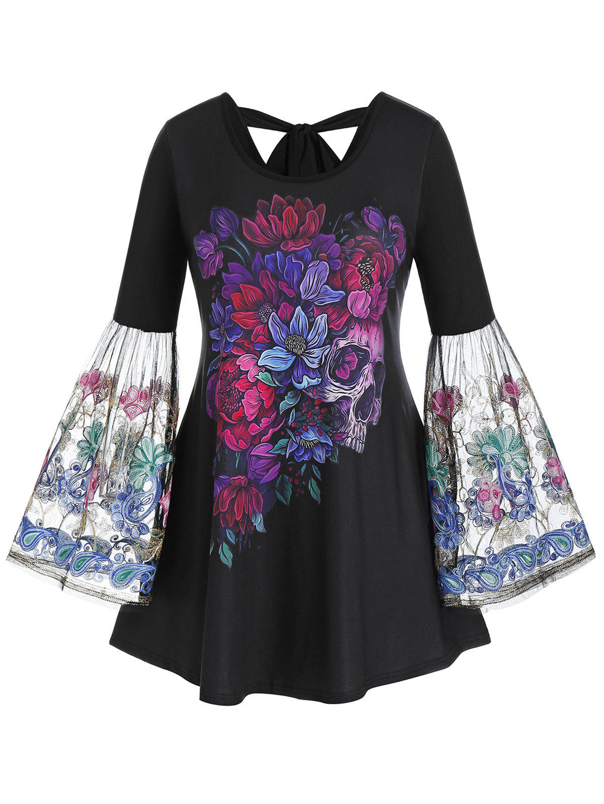 Store Plus Size Flower Skull Embroidery Flare Sleeve Knot Tee