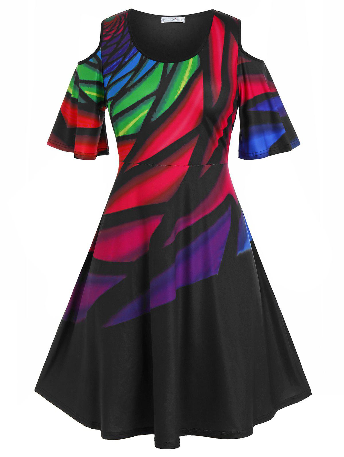 New Plus Size Colorful Cold Shoulder A Line Tee Dress