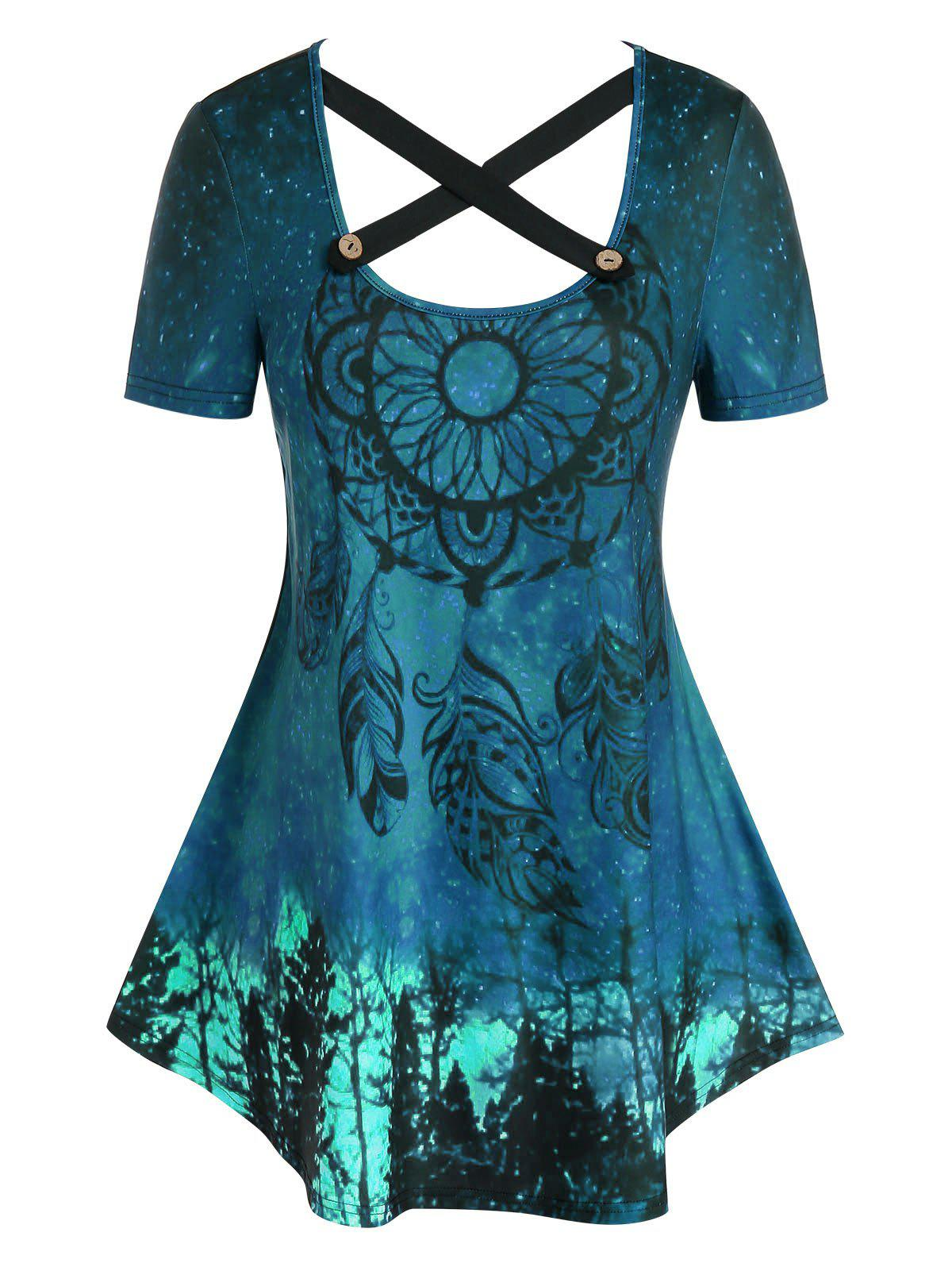 Hot Plus Size Dreamcatcher Pattern Crisscross Curved Tunic Tee