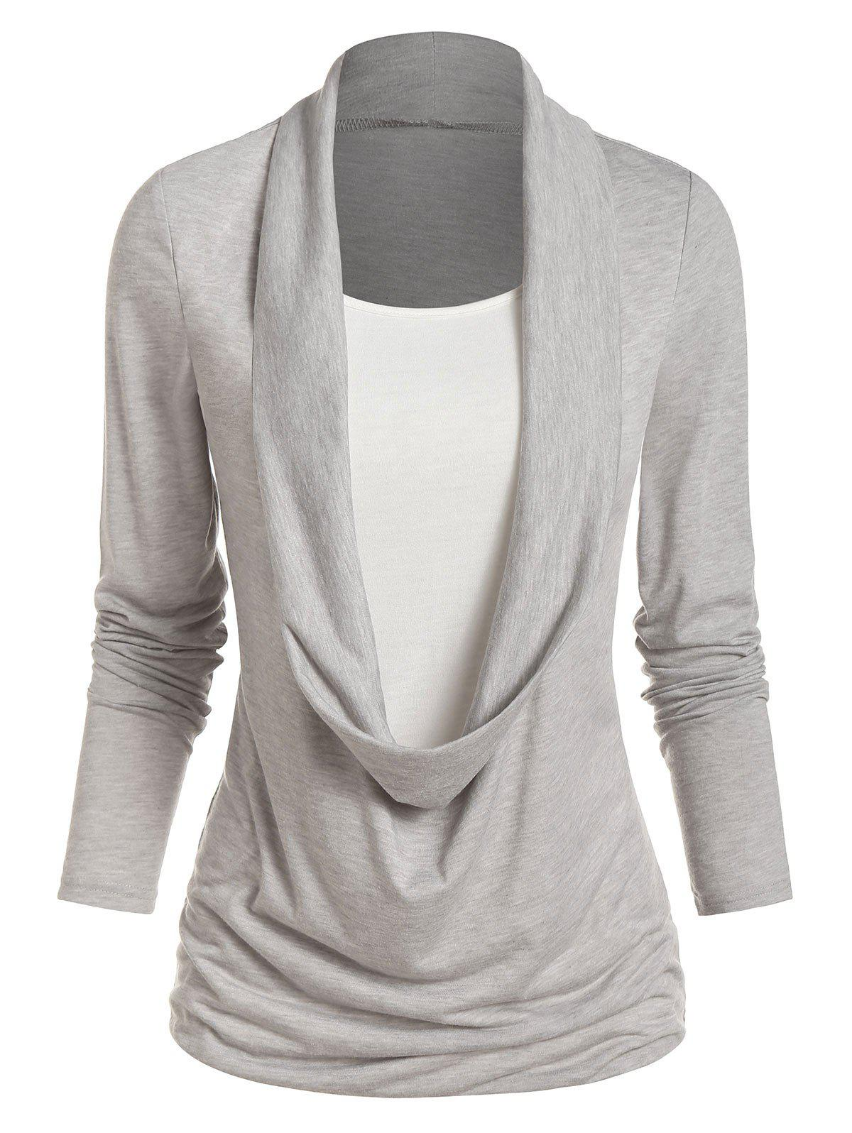 Store Long Sleeve Heathered Faux Twinset Casual T-shirt