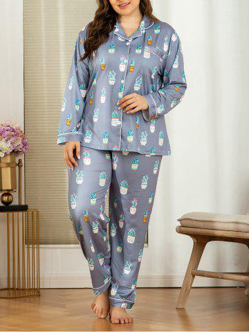 Plus Size Potted Plant Print Piping Pajama Set - DARK GRAY - 3XL