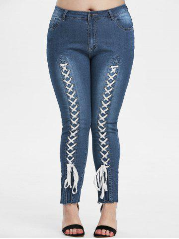 Plus Size Lace-up Frayed Hem Skinny Jeans - DEEP BLUE - 1X
