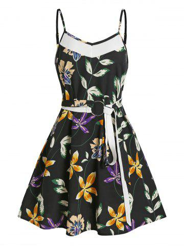 Floral Print Belt Mini Cami Dress