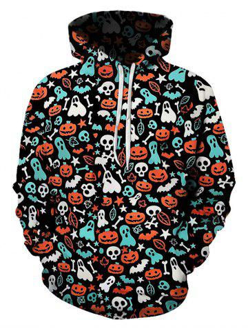 Halloween Ditsy Pattern Front Pocket Drawstring Hoodie