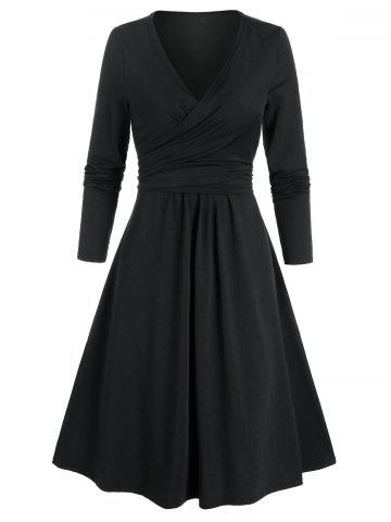 Long Sleeve Wrap Knotted Flare Dress
