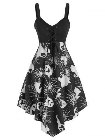Halloween Ghost Print Lace Up Cami Asymmetrical Dress
