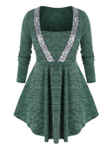 Plus Size Glitter Sequined Ribbed Ruched Tunic Sweater - DEEP GREEN - 2X