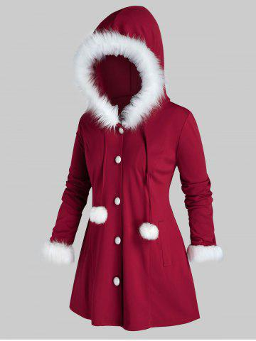 Plus Size Christmas Hooded Faux Fur Ball Pocket Coat - RED WINE - 5X