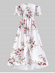 Floral Off Shoulder Shirred Tulip Dress -