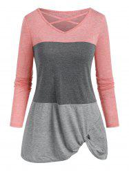 Colorblock Criss Cross Twisted T-shirt -