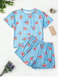 Plus Size Lounge Watermelon Print Striped Short Pajama Set -