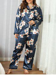 Plus Size Silky Satin Floral Piping Pajama Set -