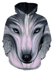 Front Pocket Wolf Graphic Drawstring Pullover Hoodie -