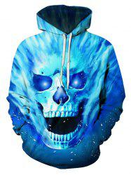 Fire Skull Graphic Front Pocket Drawstring Hoodie -