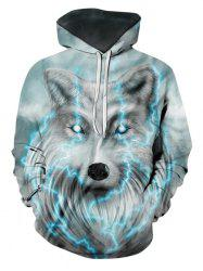 Lightning Wolf Graphic Front Pocket Casual Hoodie -