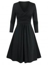 Long Sleeve Wrap Knotted Flare Dress -