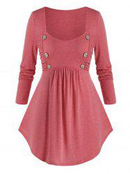 Plus Size Mock Button Ruched Curved Hem Tunic Tee -