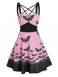 Front Strappy Bat Print Mini A Line Dress -