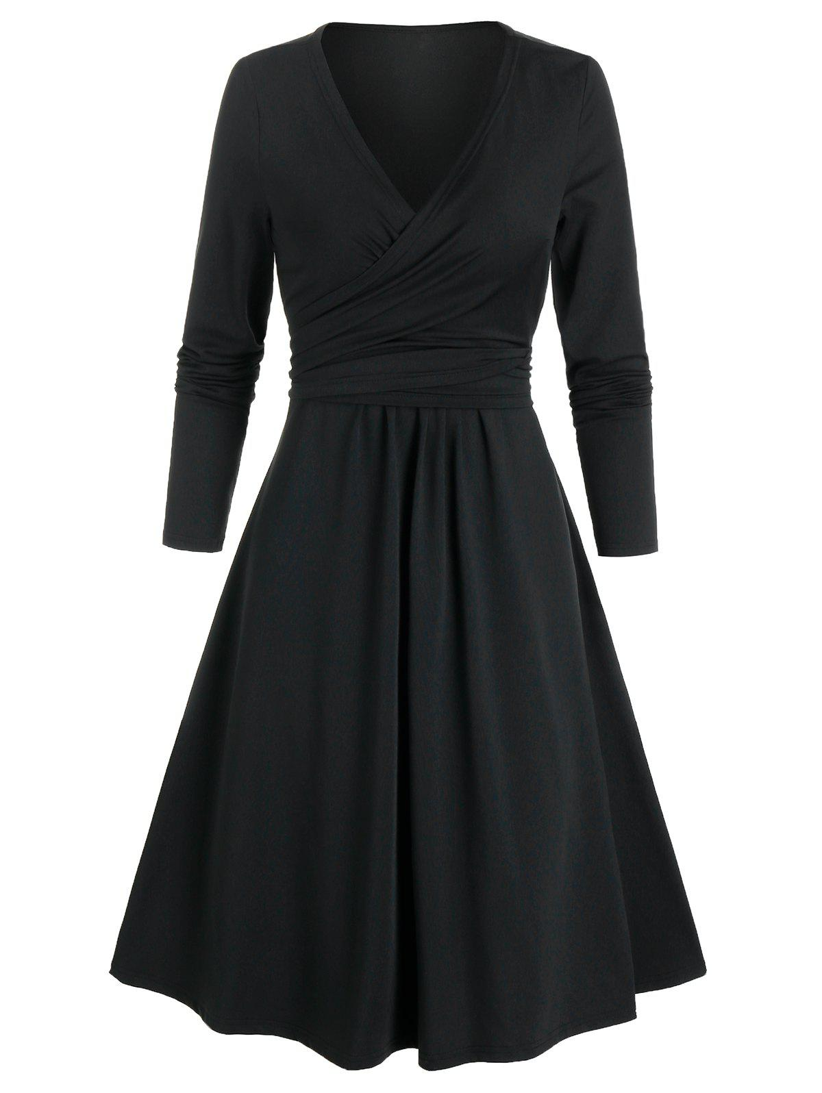 Unique Long Sleeve Wrap Knotted Flare Dress