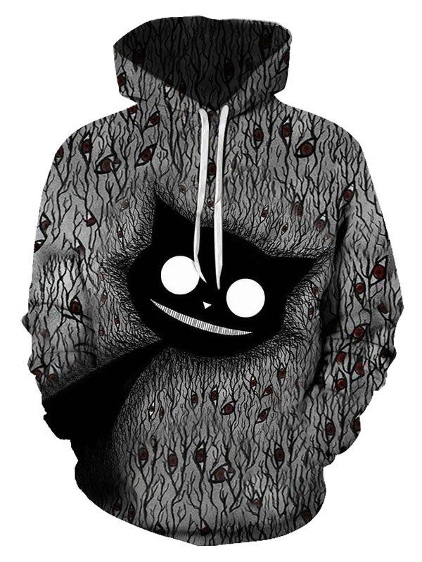 Sweat à Capuche Pull-over Chat Graphique Abstrait avec Poche en Avant Multi L