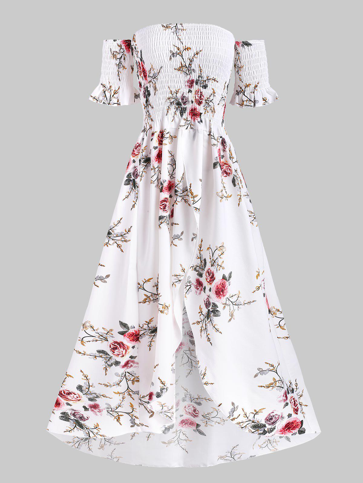 Affordable Floral Off Shoulder Shirred Tulip Dress