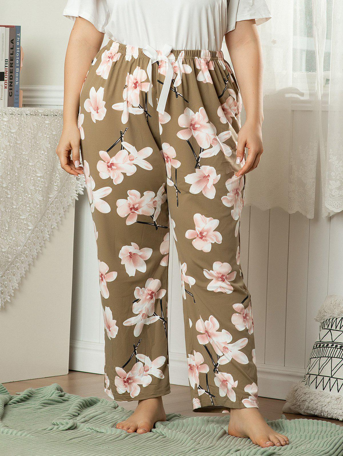 Outfits Plus Size Floral Bowknot Pajama Pants