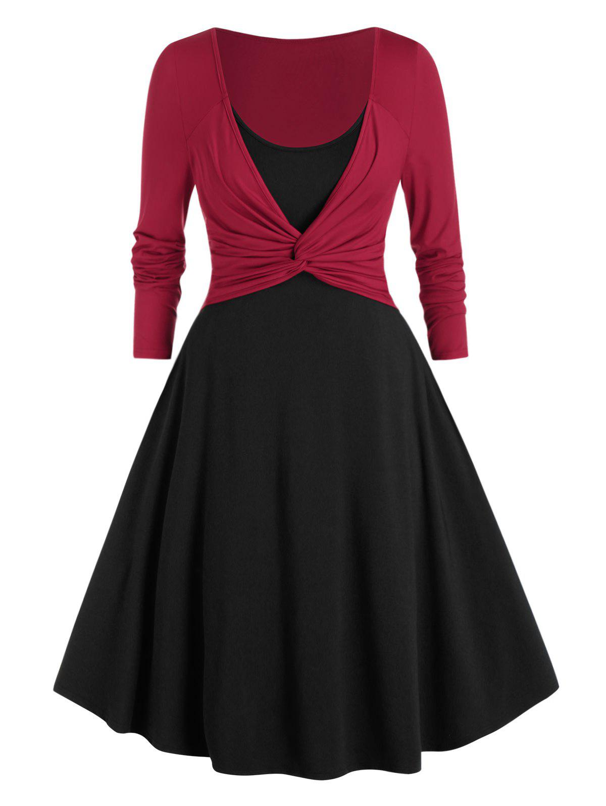 Outfits Plus Size Front Twist 2 in 1 Dress