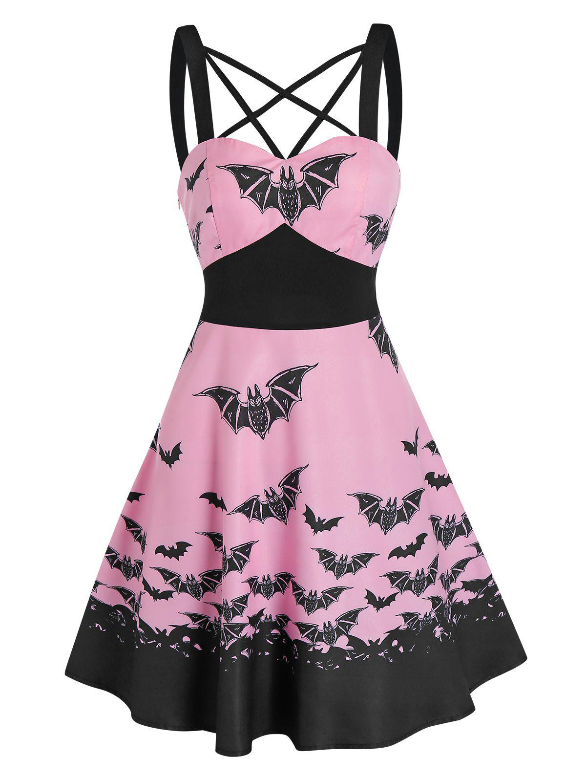 Unique Front Strappy Bat Print Mini A Line Dress