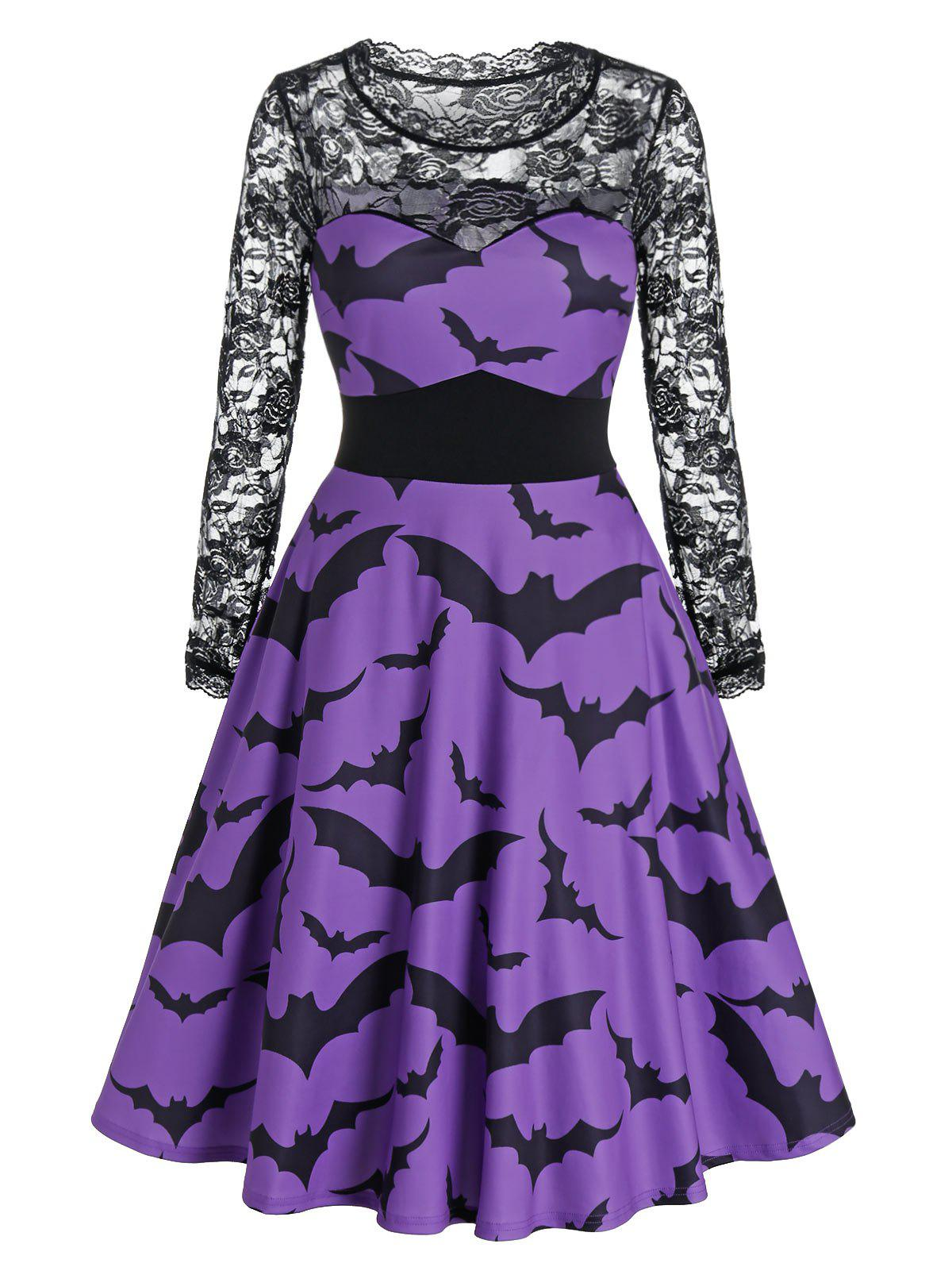 New Halloween Bat Print Sheer Lace Sleeve A Line Dress