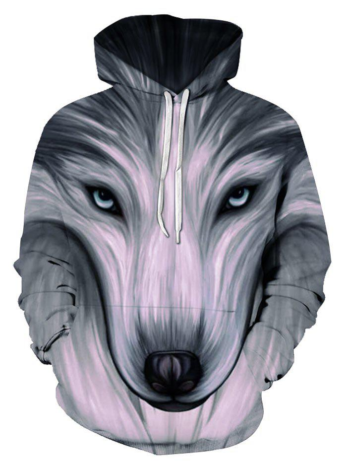 Buy Front Pocket Wolf Graphic Drawstring Pullover Hoodie
