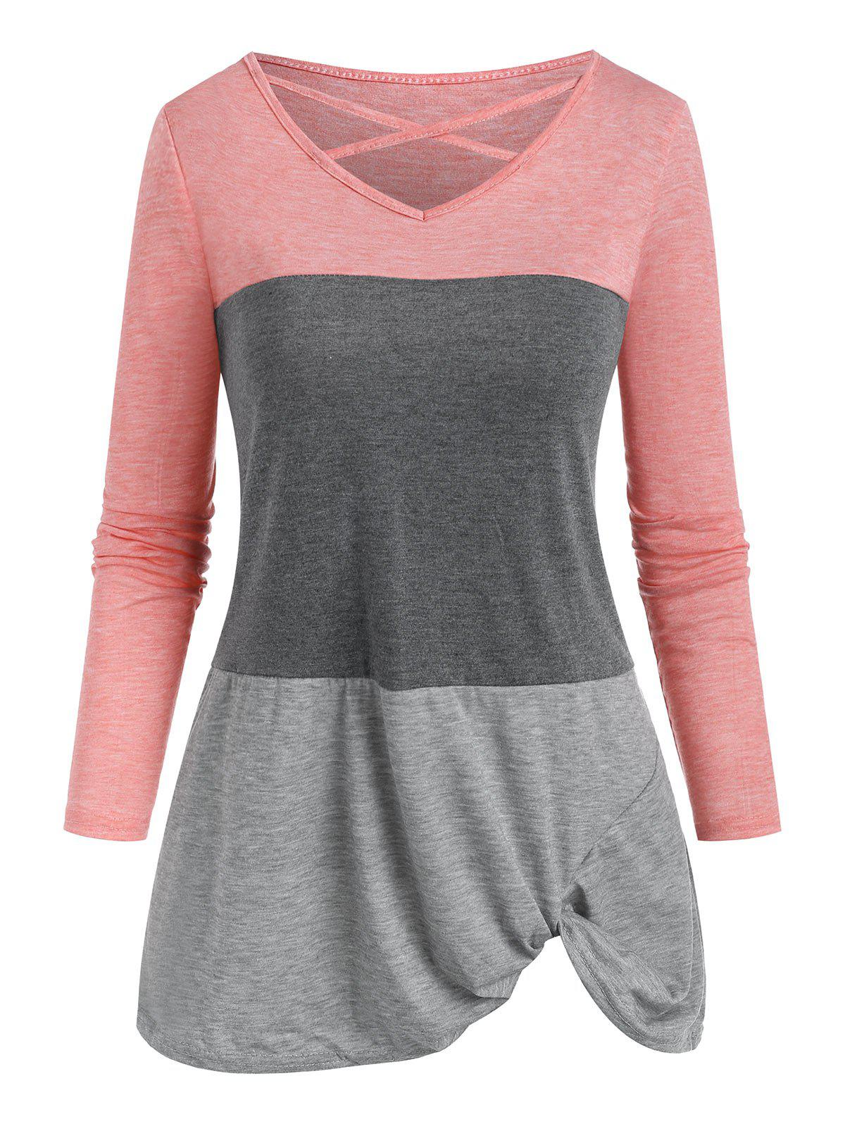 Fancy Colorblock Criss Cross Twisted T-shirt