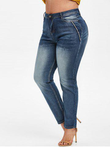 Contrast Trim American Flag Plus Size Stovepipe Jeans - BLUE - L