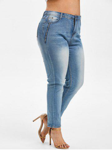 Contrast Trim American Flag Plus Size Stovepipe Jeans - LIGHT BLUE - L