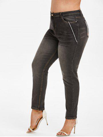 Contrast Trim American Flag Plus Size Stovepipe Jeans