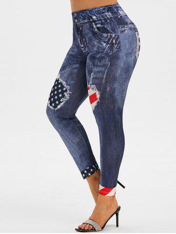 High Waisted American Flag 3D Print Plus Size Jeggings - BLUE - 1X