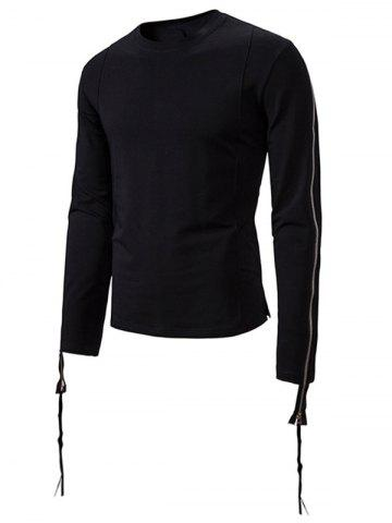 Plain Zipper Sleeve Crew Neck Sweatshirt