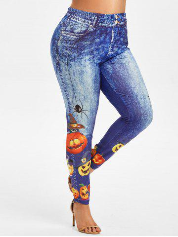 Plus Size Halloween Funny Pumpkin 3D Pattern High Waisted Jeggings - BLUE - L