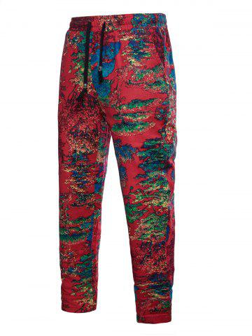 Drawstring Tree Print Casual Pants - RED - XS