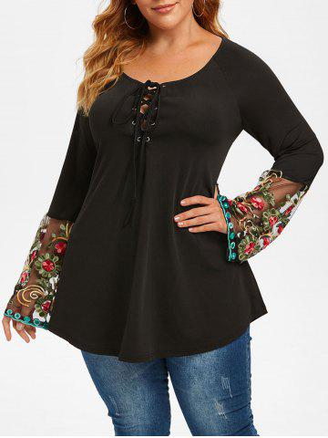 Plus Size Lace-up Flower Embroidery Sheer Flare Sleeve Tee - BLACK - L
