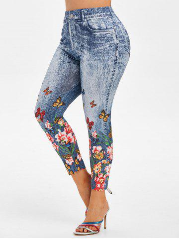 Plus Size High Rise Butterfly Floral Print Jeggings - BLUE - 1X